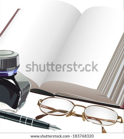 Fountain pen notebook and glasses - stock photo
