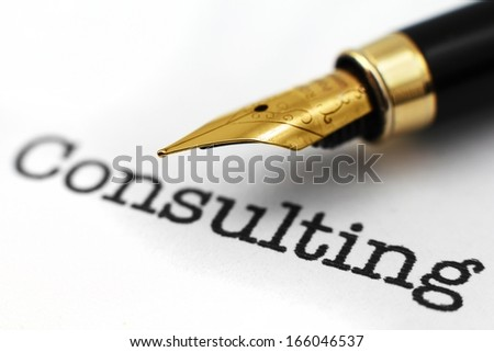 Fountain pen on consulting text