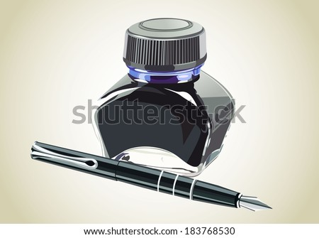 fountain pen with ink bottle