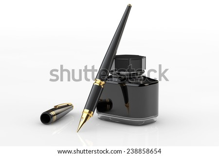 Fountain Pen with Ink Bottle on a white background - stock photo