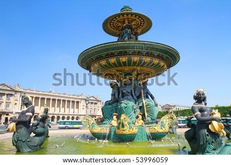 Fountain, Place de la Concorde - stock photo
