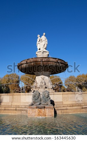 Fountain Rotonde (Fountain of Three Graces, circa 1860). Architect Theophile de Tournadre. One of the most famous monuments of Aix-en-Provence, France - stock photo