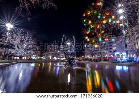 Fountain sculpture at central square in Malmo in New Year holyday