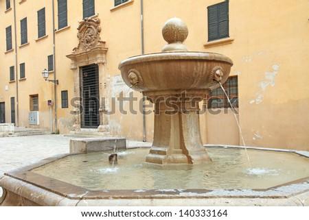 Fountain Seminario Old town of  Palma de Majorca Balearic islands Spain - stock photo