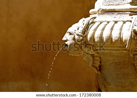 Fountain with a head where the water drips from its mouth. - stock photo