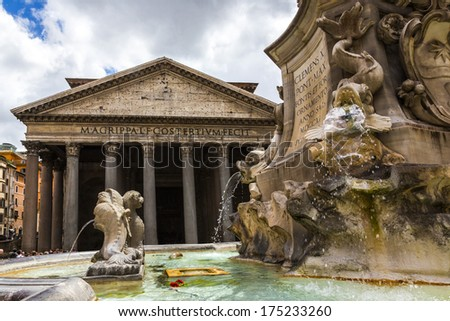 Fountain with church in the background, Pantheon Rome, Rome, Rome Province, Lazio, Italy - stock photo