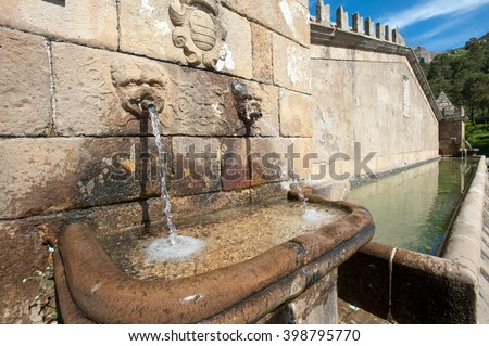 Fountain with sculpture on the wall, typical of the Sicilian countryside, Geraci Siculo, Palermo, Sicily, Italy, Europe