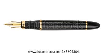 Fountain writing pen isolated on white background - stock photo