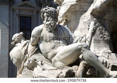 Fountain Zeus in Bernini's, dei Quattro Fiumi in the Piazza Navona in Rome, Italy - stock photo