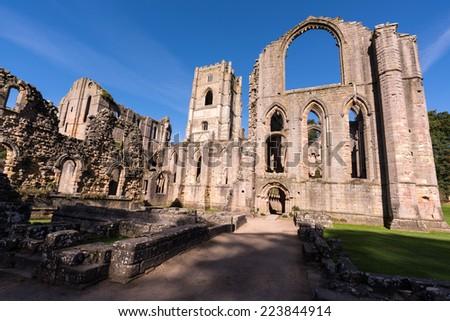 Fountains Abbey England - stock photo