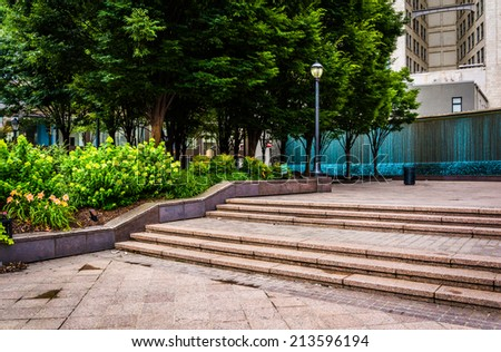 Fountains and garden at Woodruff Park in downtown Atlanta, Georgia. - stock photo