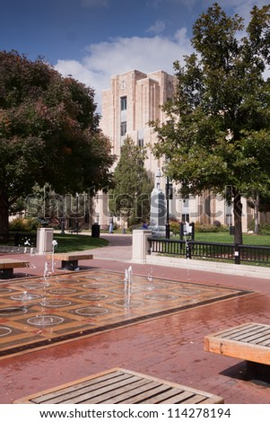 Fountains and Historic Art Deco Courthouse in Downtown Boulder, CO - stock photo