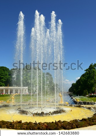 Fountains of the Grand Cascade, palace-ensemble Peterhof. Saint Petersburg, Russia - stock photo