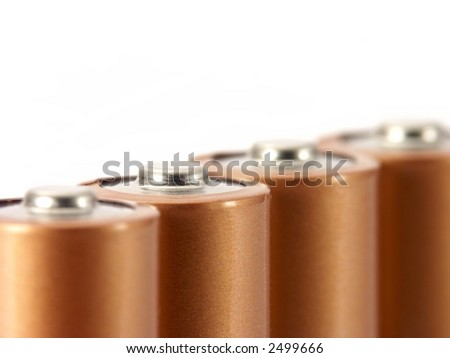Four AA batteries isolated on white. - stock photo