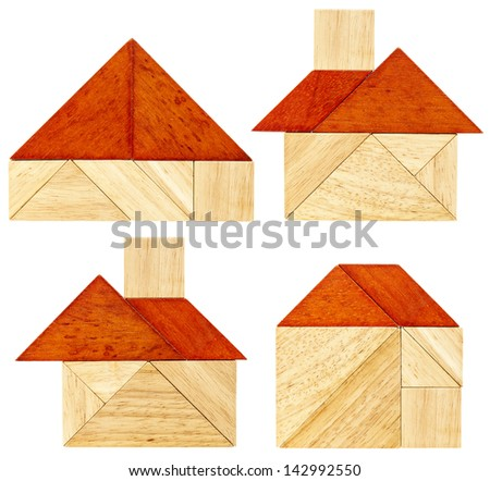 four abstract pictures of a house with a red roof built from seven tangram wooden pieces