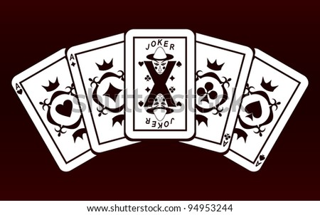 Four Aces and Joker. Playing cards on a dark red background. EPS version is available as ID 90575461. - stock photo