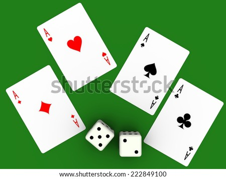 Four aces and seven points. Poker cards and dices. - stock photo