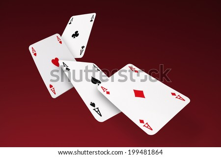 Four Aces/flying cards - stock photo