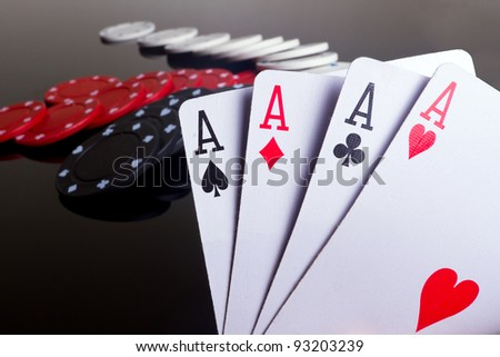 Four aces in poker - stock photo