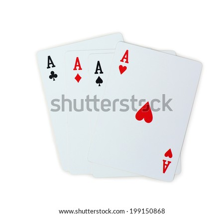 four aces isolated on white background - stock photo
