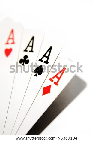 Four aces on playing cards - stock photo