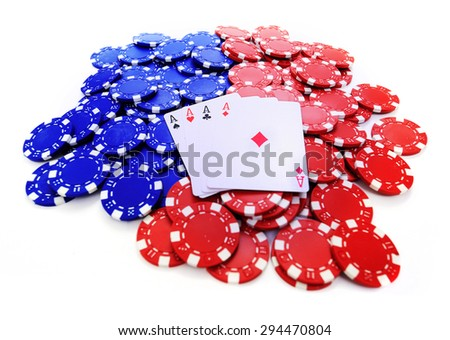 Four aces on red and blue token on white - stock photo