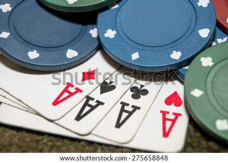 four aces with chips - stock photo