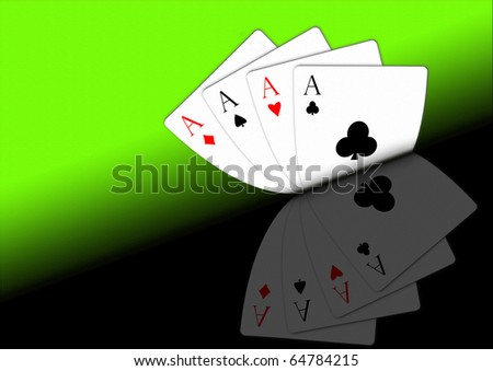 Four aces with reflection - stock photo