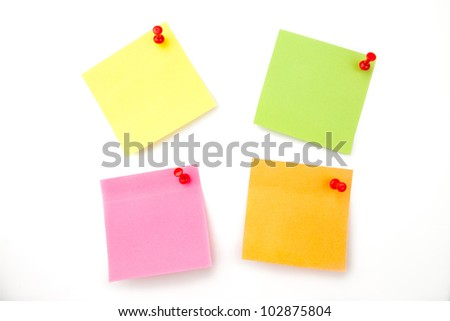 Four adhesive notes against a white background