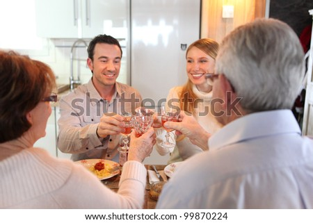 Four adults making a toast at dinner - stock photo
