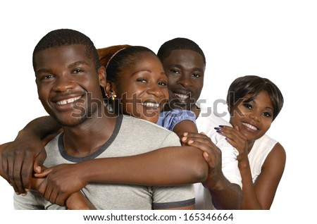 Four african Friends in joy, Studio Shot