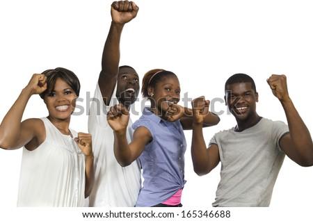 Four african Friends in joy, Studio Shot - stock photo