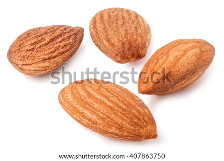 four almond isolated on white background close-up macro - stock photo