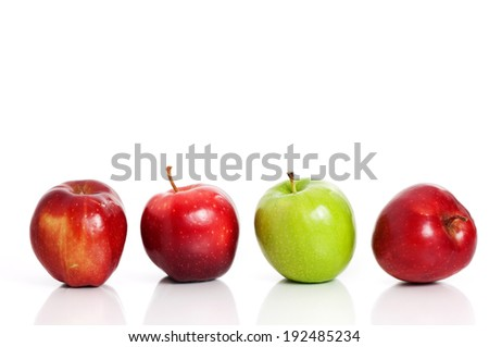 Four apples isolated on white background