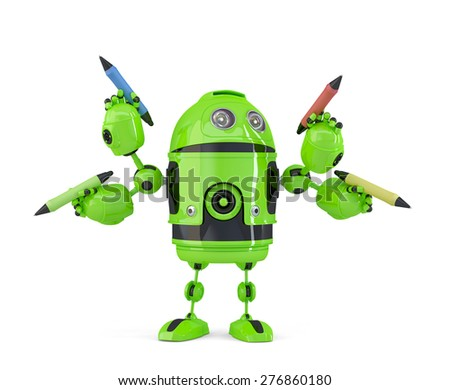 Four-armed 3d robot with pencils. Multitasking concept. Isolated. Contains clipping path. - stock photo