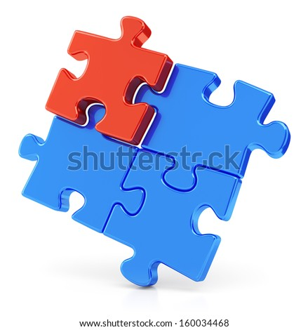 Four assembling color red and blue puzzle pieces isolated on white background. Business teamwork concept. - stock photo