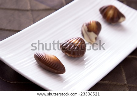 Four assorted chocolates laid out on a plate