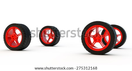 four automobile wheels on red sports disks - stock photo