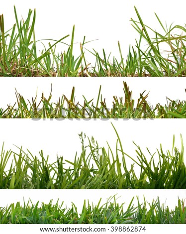 Four backgrounds set of green natural grass. Front view