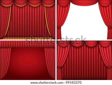 Four backgrounds with red theater curtains, raster version