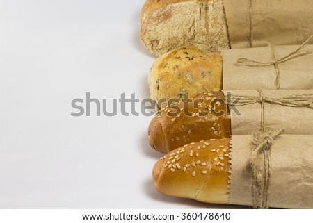 Four baguette in paper packaging
