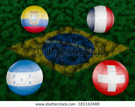 four balls on the grass with the image of the flag of Brazil - stock photo