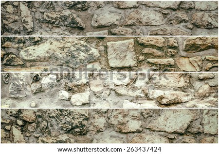 Four Banners Of Stone Background