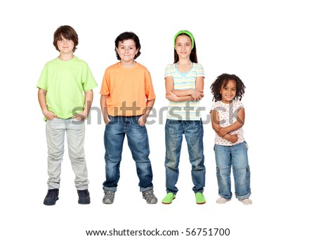 Four beautiful and different children isolated on white background - stock photo
