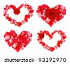 Four beautiful hearts of red petals - stock photo