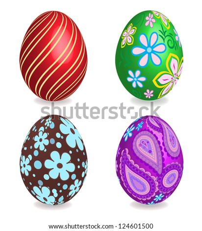 Four beautiful painted easter eggs on white background. Raster illustration.See vector version in my portfolio. - stock photo
