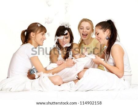 four beautiful young girls - stock photo