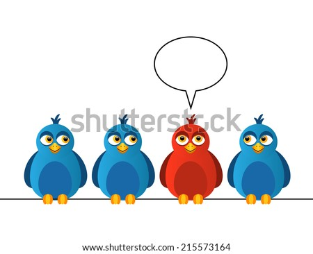 Four birds sitting on wires. One bird is red and says - stock photo