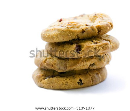 Four biscuits isolated