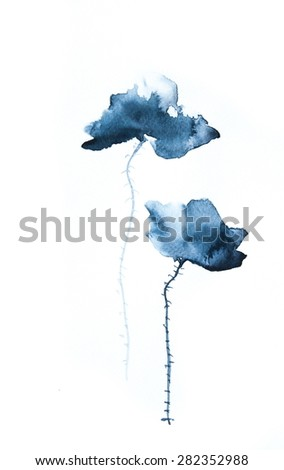 Four black poppies on gray background  for card, watercolor illustrator - stock photo
